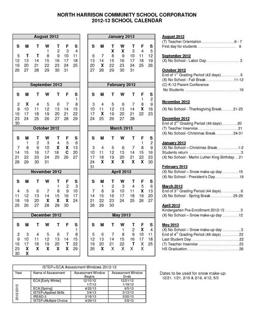 2012-2013 North Harrison Academic Calendar
