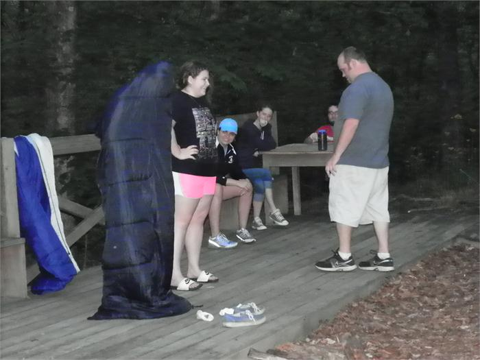 Campfire Skit: He still hadn't figured out what he needed to take off.