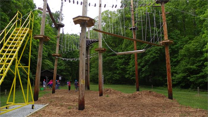 The Climbing Wall - All 40 Feet and the High Ropes Course
