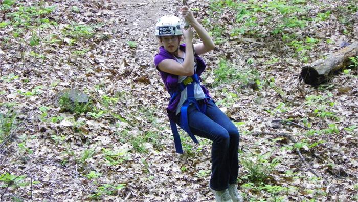 Jennifer did a great job zipping across the gully.