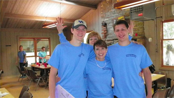 Breakfast: Mrs. Smith with seniors Austin and Cory. (Being photobombed by Mrs. Pinnick! LOL!)