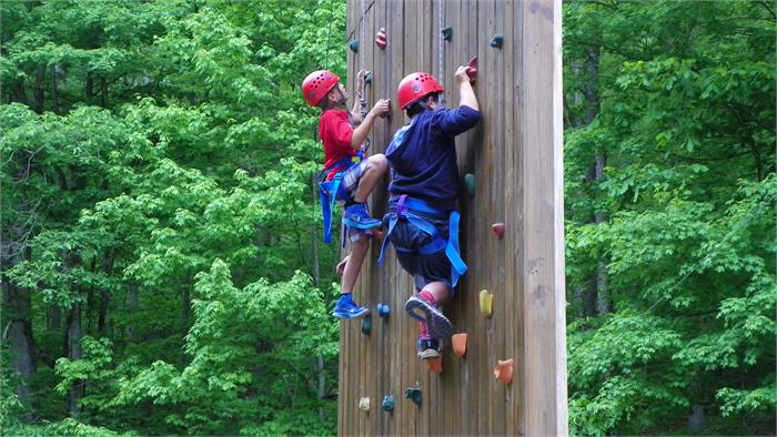 The Climbing Wall - All 40 Feet - Jake and Sergio are off to a good start.