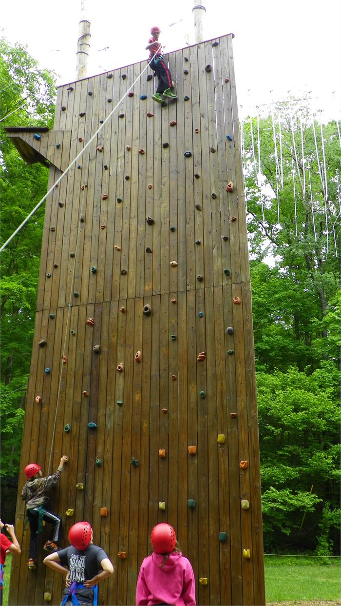 The Climbing Wall - All 40 Feet - Dylan was the very first boy camper to make it to the top of the wall.