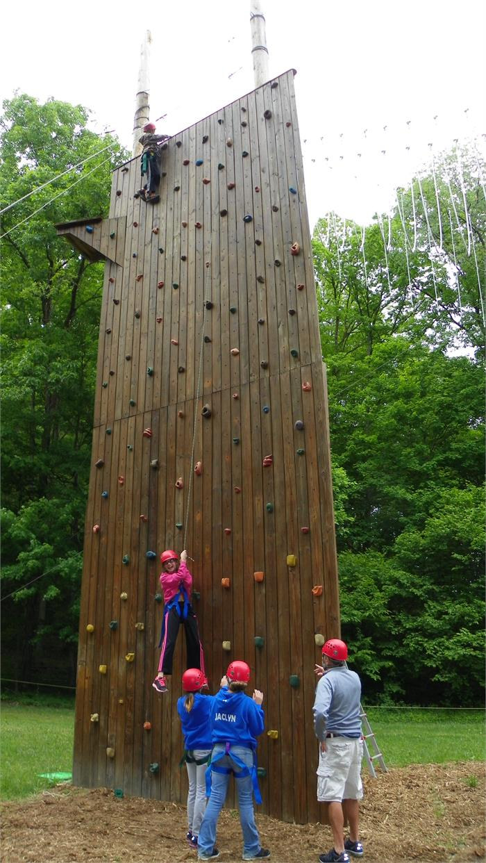 The Climbing Wall - All 40 Feet - Jack was the second camper to make it to the top of the wall.