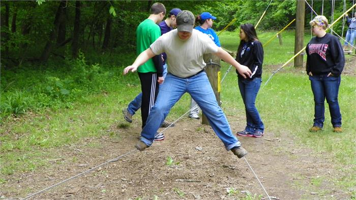 High School and College Staff on the Obstacle Course