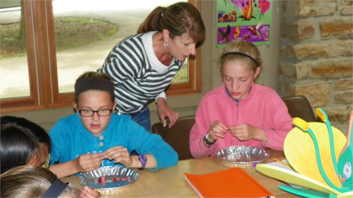 Flower Parts-Mrs.Smith helps the campers identify the different parts of a flower.