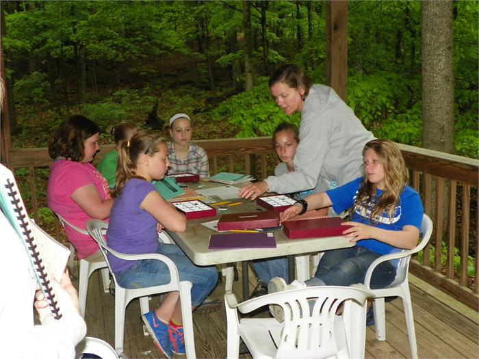 Minerals: Mrs. Gutknecht helps the campers as they try to identify some minerals.