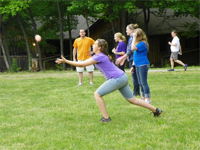 Girls Balloon Toss: A great try to catch the water balloon.