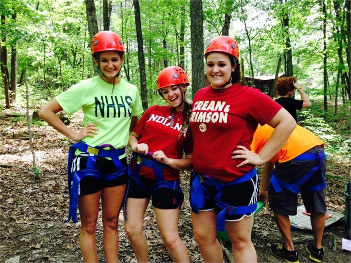Our senior girl campers getting ready to do the zip line.