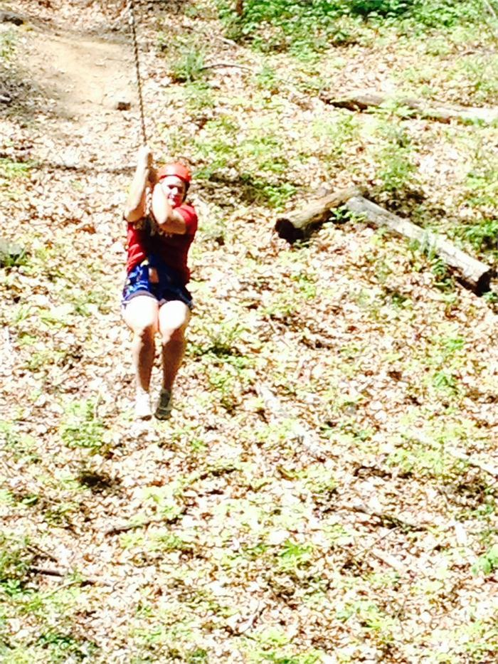 Reagan takes her turn on the zip line.